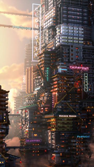 推主「Deltagon」在《我的世界》中搭建的Cyberpunk風城市 Image