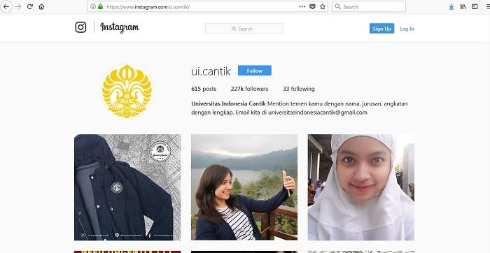 Akun Instagram @ui.cantk memajang foto mahasiswi UI tanpa Izin