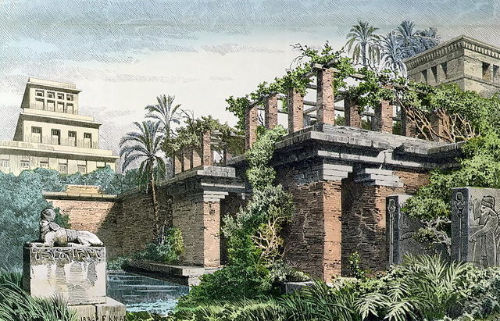 An image of the Hanging Gardens of Babylon, believed to be home to roses in ancient times.