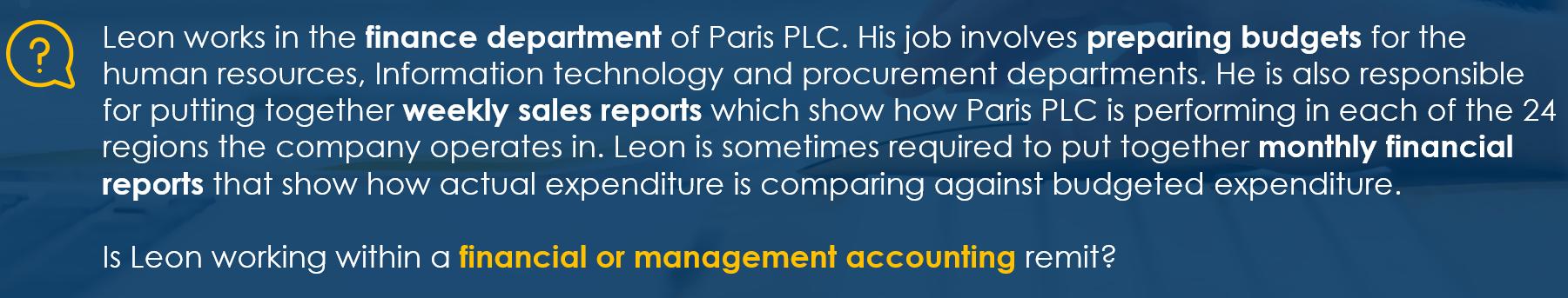 example management accounting v financial accounting