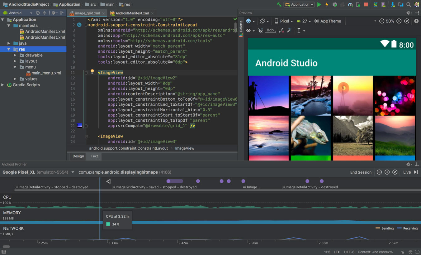This is what the Android Studio interface and some of its features look like