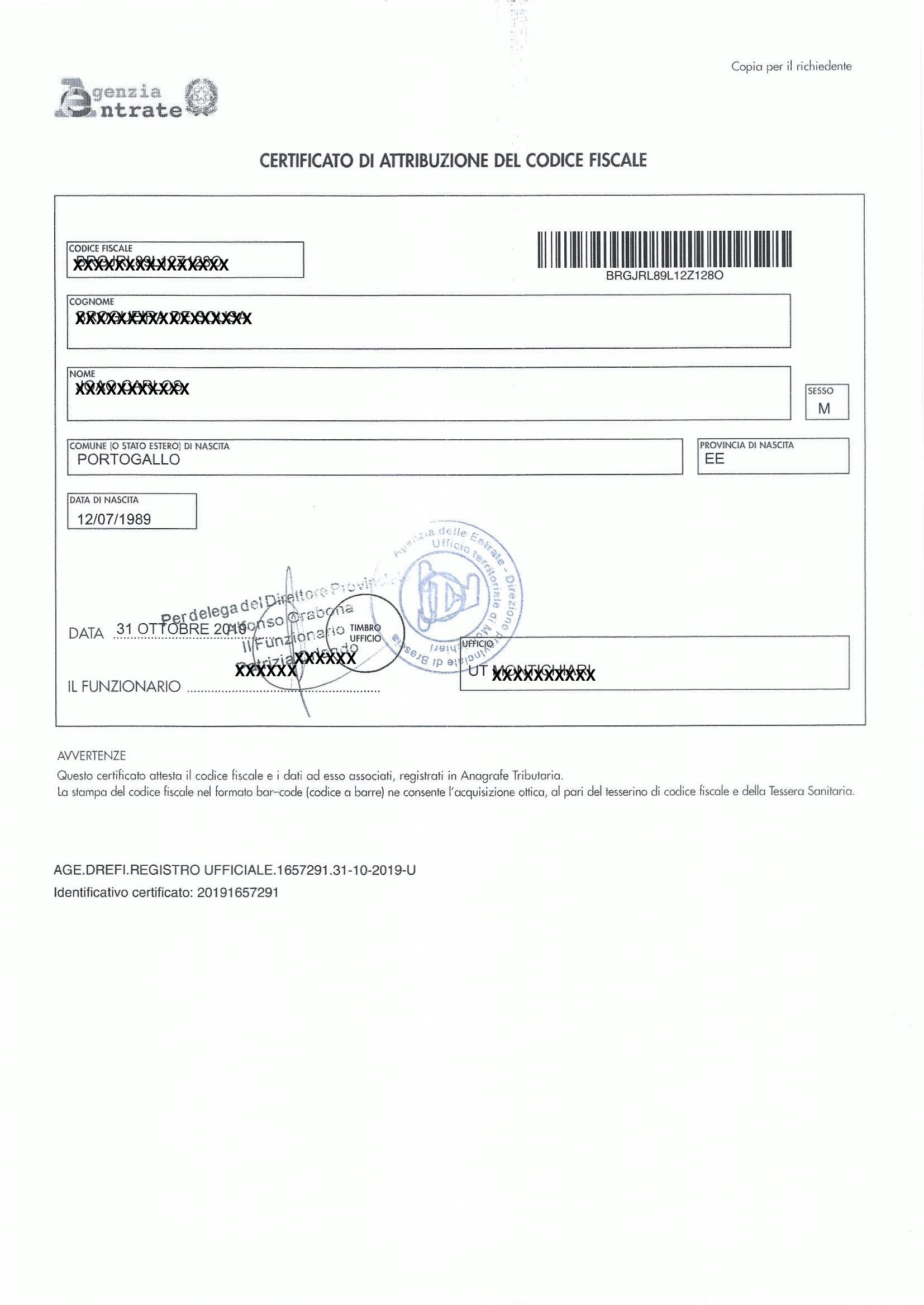 Certificato Attribuzione Codice Fiscale | STUDIO KANTZ & ASSOCIATI