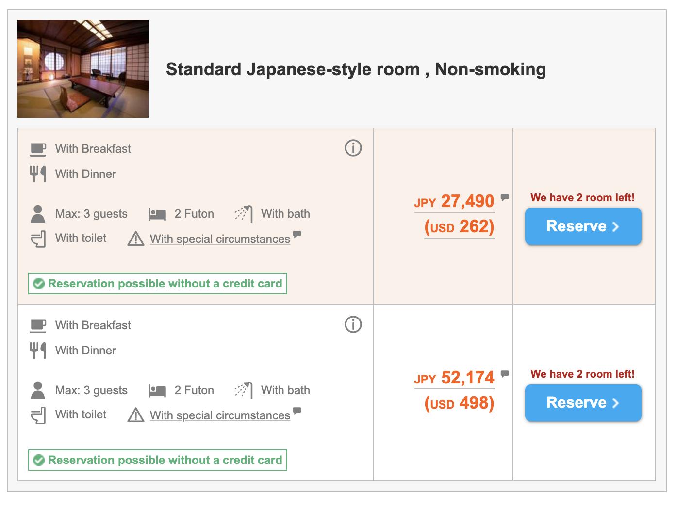 Отели (рёкан) в Киото, Япония