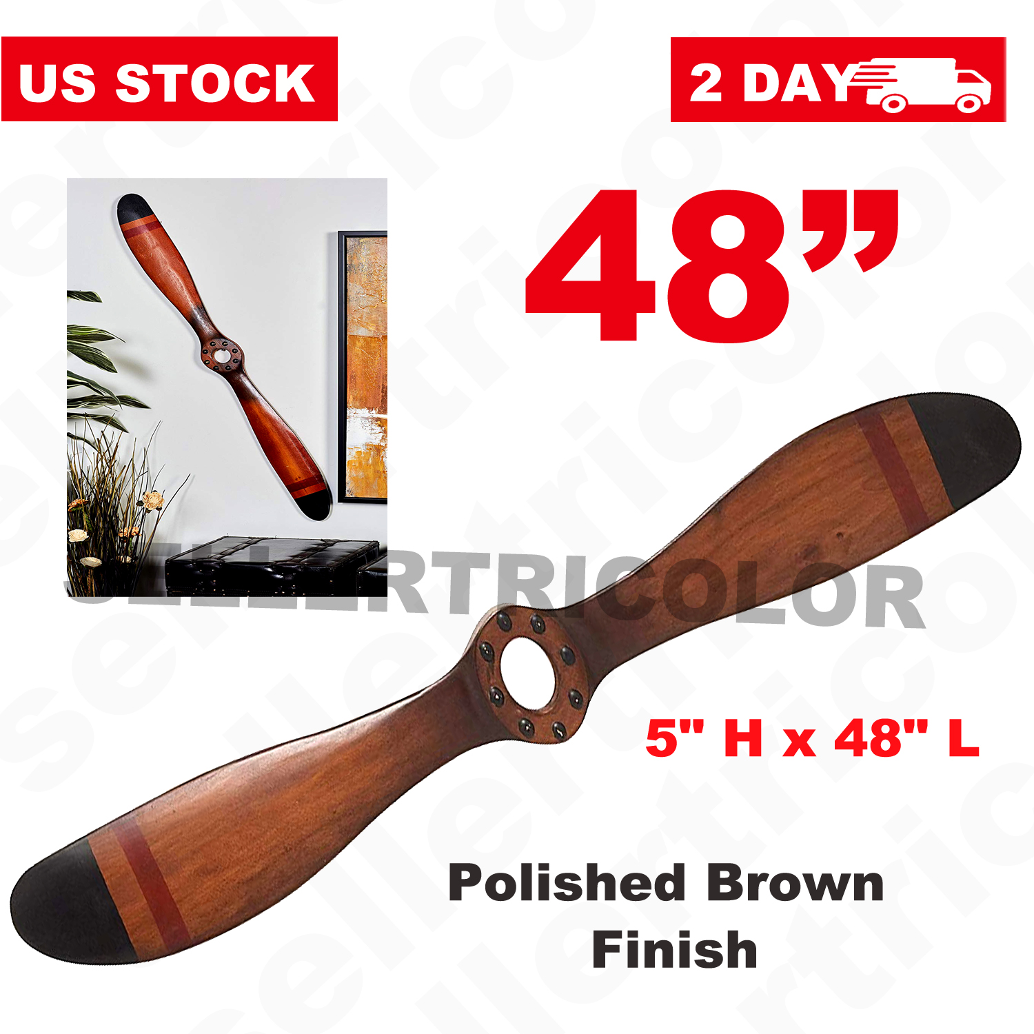 """Vintage Wood Airplane Propeller Wall Decor Antique Model Aviation 48/"""" Military"""