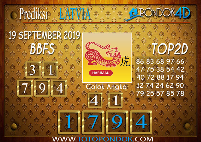 Prediksi Togel LATVIA POOLS PONDOK4D 19 SEPTEMBER 2019