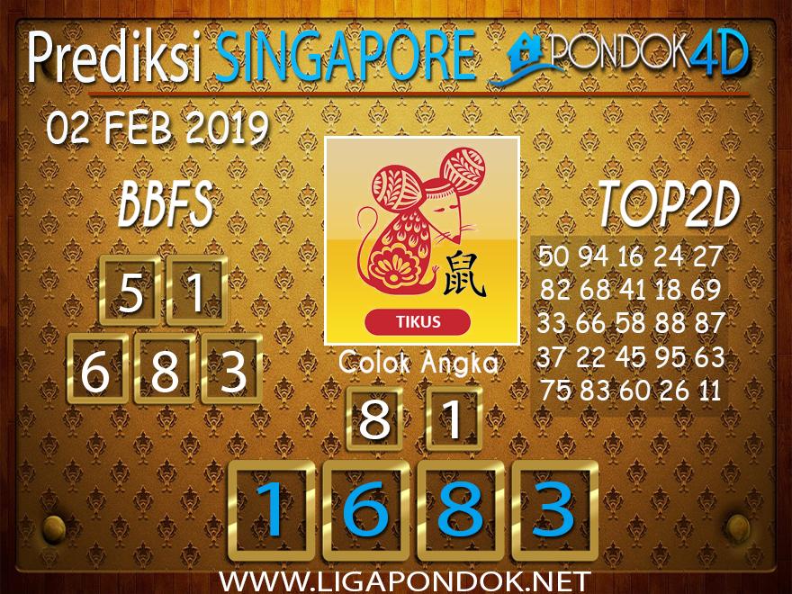Prediksi Togel SINGAPORE PONDOK4D 02 FEBRUARI 2019
