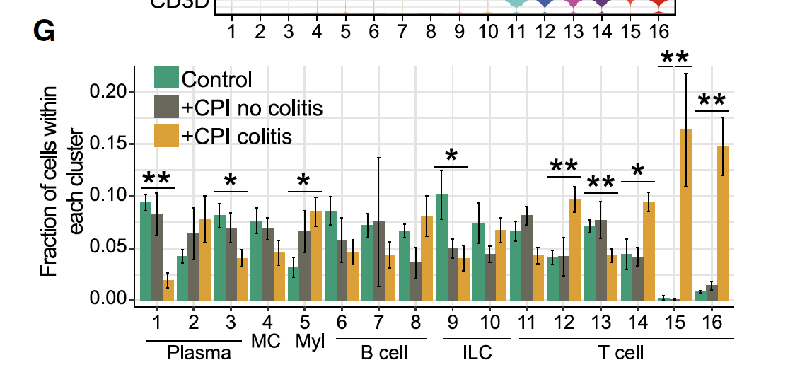 Quantification of cells in each cluster
