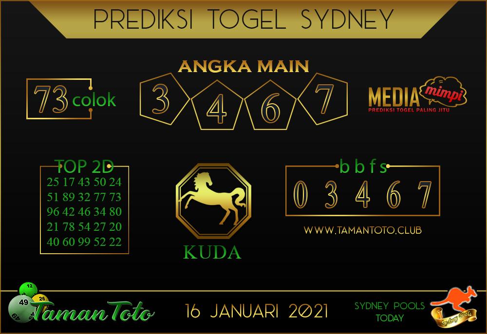 Prediksi Togel SYDNEY TAMAN TOTO 16 JANUARI 2021
