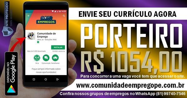 PORTEIRO COM SALÁRIO DE R$ 1054,00 PARA EMPRESA HOSPITALAR