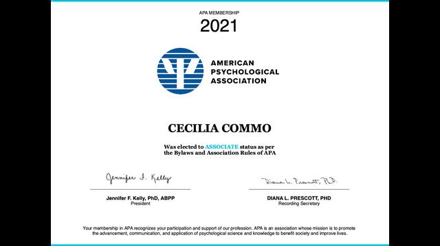 Cecilia Commo APA associate member - 2021