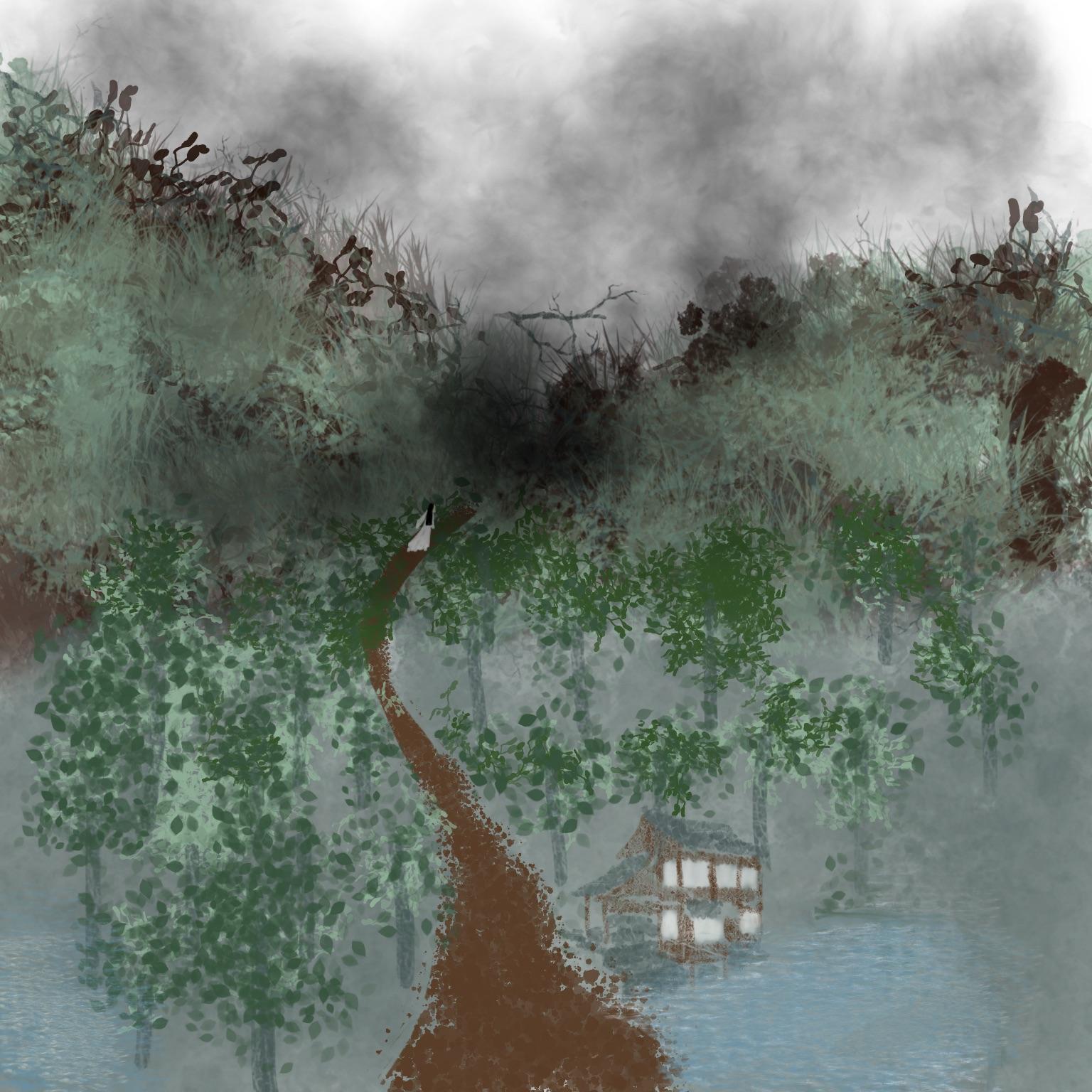 Art by Lilijien depicting Lan Wangji walking into the Burial Mounds