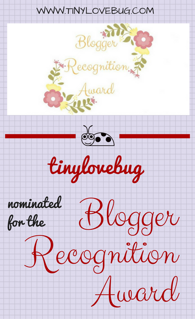 Tinylovebug nominated for the blogger recognition award