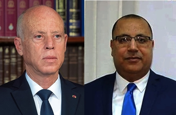 Presidente tunecino Kaïs Saied y primer ministro Hichem Mechichi