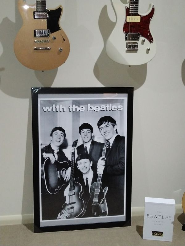 Another *NEW* large retro Beatles theme poster for the Music Studio. Mounted and framed by myself.