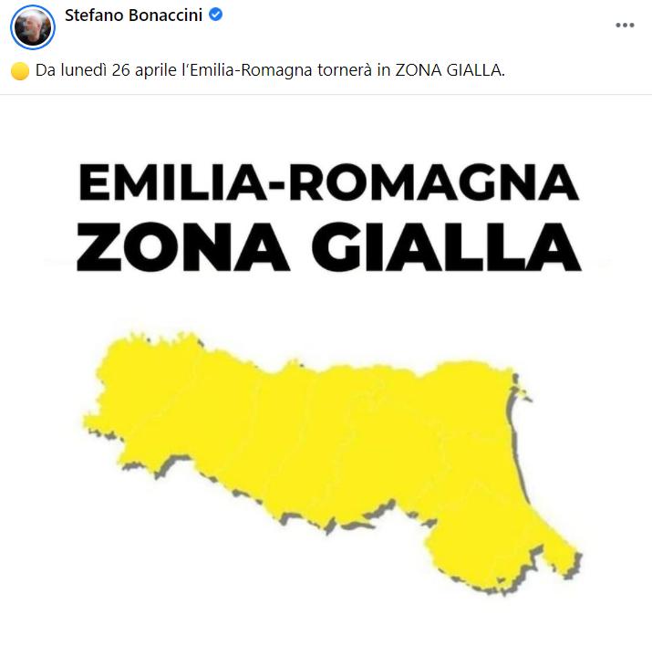 Emilia Romagna in zona gialla