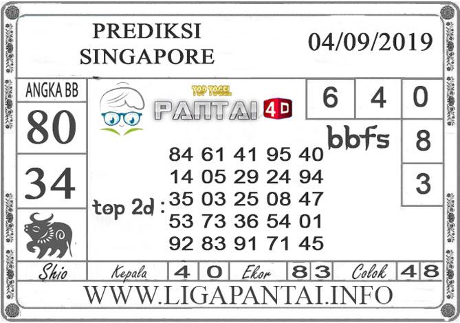 "PREDIKSI TOGEL ""SINGAPORE"" PANTAI4D 04 SEPTEMBER 2019"