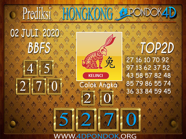 Prediksi Togel HONGKONG PONDOK4D 02 JULI 2020