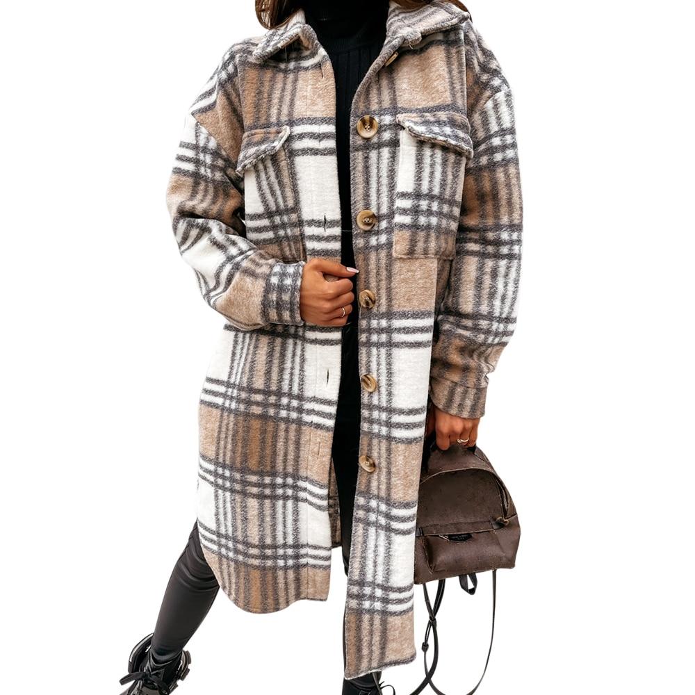 02021-Autumn-Women-Shirt-Coat-Fashion-Plaid-Printed-Turn-Down-Collar-Long-Coat-Casual-Single-Breaste