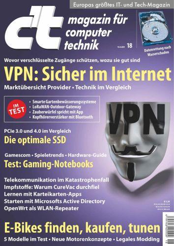 Cover: ct Magazin für Computertechnik No 18 vom 14  August 2021