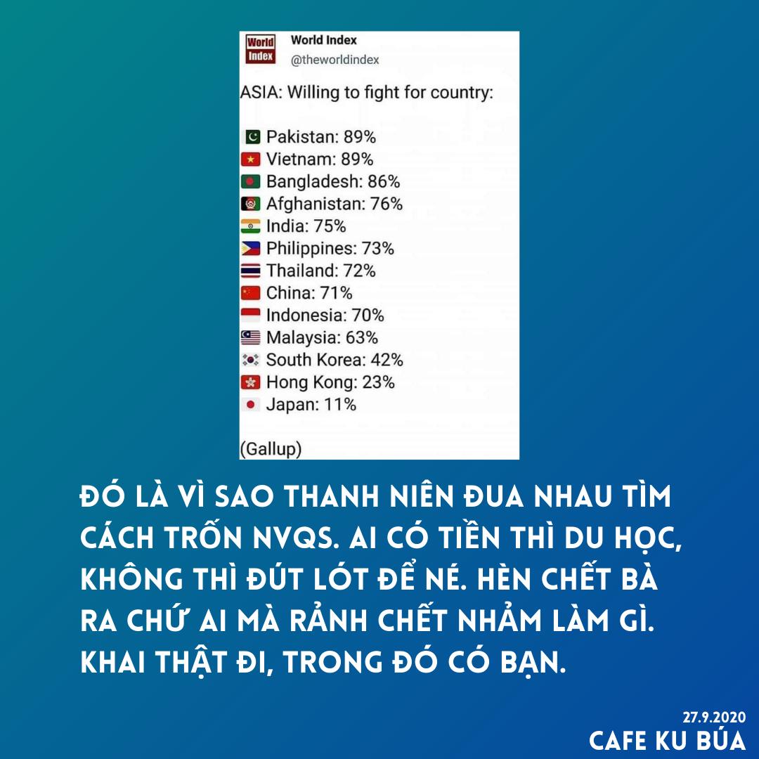 KHẢO SÁT: 89% NGƯỜI VIỆT SẴN LÒNG CHIẾN ĐẤU VÌ TỔ QUỐC – DÂN HÈN CHẾT MẸ RA