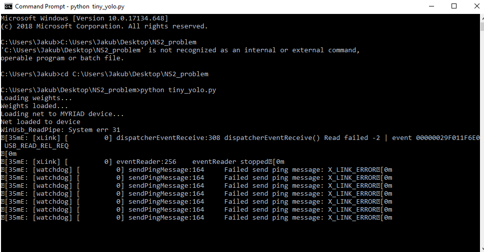 tiny YOLO on NS2: Failed send ping message