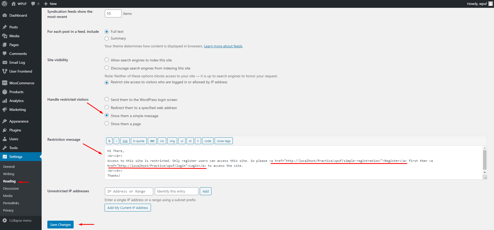 How to restrict the entire WordPress site by excluding a few essential pages 3