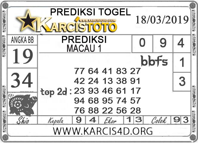 Prediksi Togel MACAU 1 KARCISTOTO 18 MARET 2019