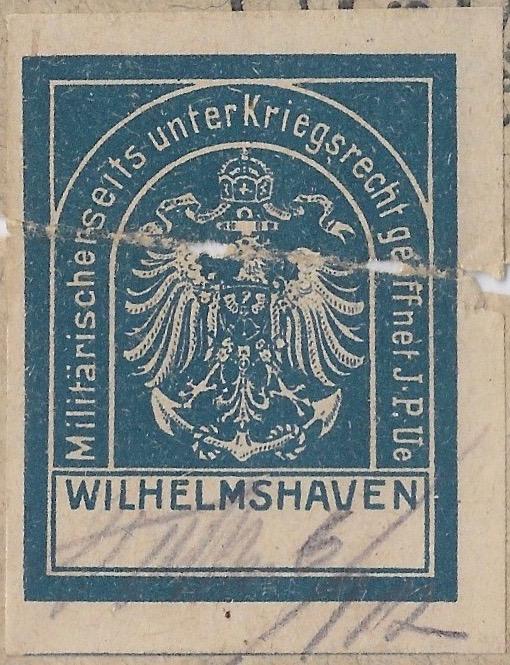 Germany-1917-7-6-CLOSEUP-of-Censor-Label-FELDPOST-w-blue-CENSOR-label-3rd-Co-2nd-Torpedo-Div-front-1