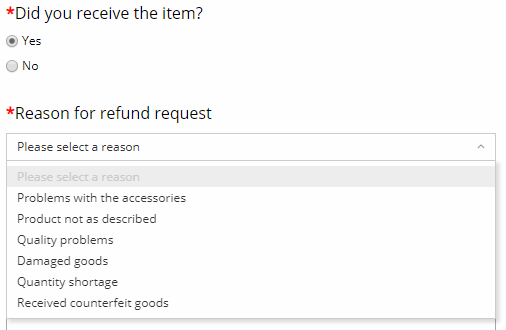 Aliexpress reasons for refund if the item is delivered