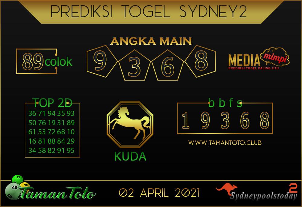 Prediksi Togel SYDNEY 2 TAMAN TOTO 02 APRIL 2021