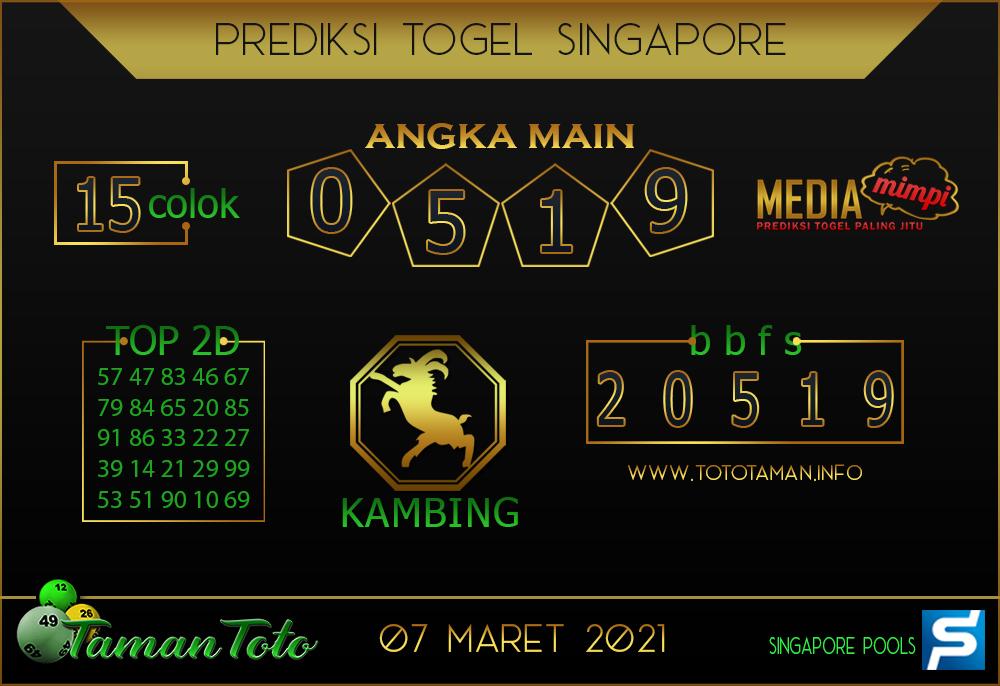 Prediksi Togel SINGAPORE TAMAN TOTO 07 MARET 2021