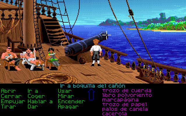 Pantalla de elección en el primer juego de Monkey Island: The Secret of Monkey Island