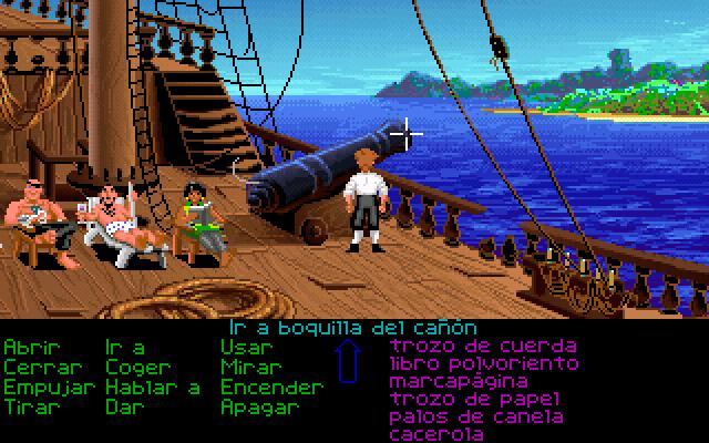 Pantalla de elección en el primer juego de Monkey Island: The Secret of Monkey Island