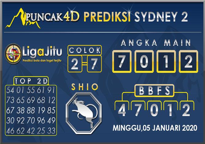 PREDIKSI TOGEL SYDNEY2 PUNCAK4D 05 JANUARI 2020