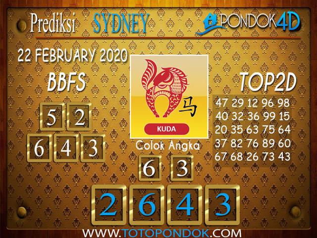 Prediksi Togel SYDNEY PONDOK4D 22 FEBRUARY 2020