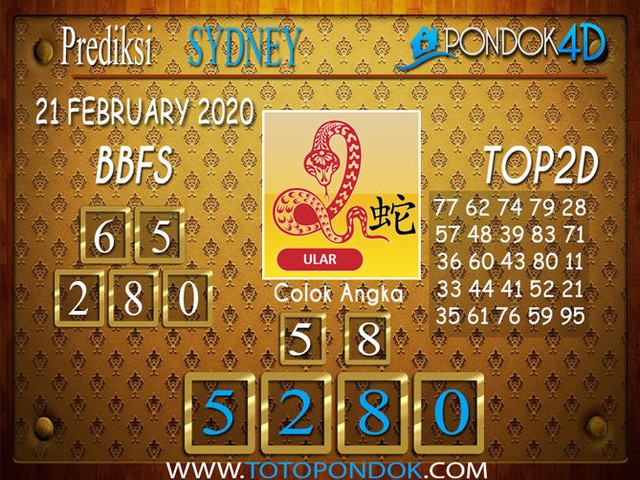 Prediksi Togel SYDNEY PONDOK4D 21 FEBRUARY 2020