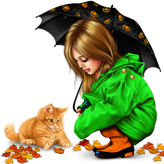 little girl in raincoat with a kitty png 10898cb2965758675b.png