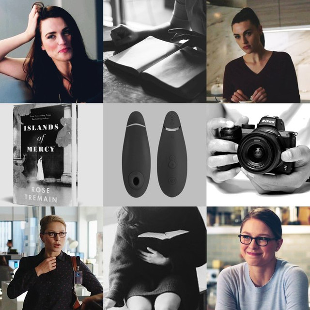 A nine-panel moodboard featuring Lena smiling with her hair down in soft waves, Lena in a burgundy sweater, Kara in a button-up looking shocked, Kara looking nervous, a Womanizer vibrator, <i>Islands of Mercy</i>, a woman sitting at a table holding a book flat, and a woman in a big over-sized sweater clutching at a book with no pants on.