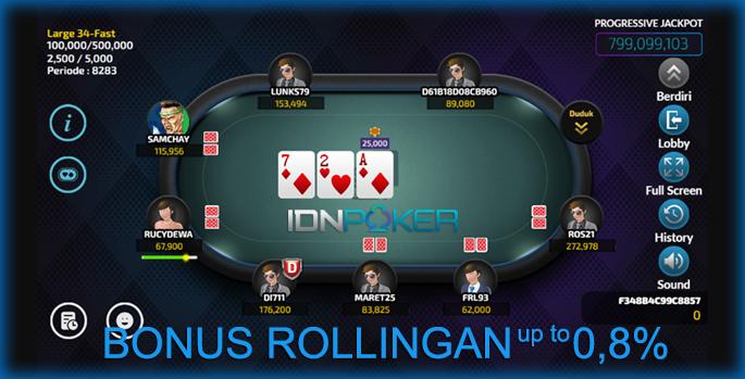 Situs IDN Poker Bonus Rollingan Terbesar