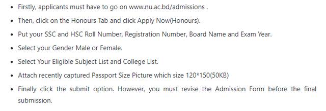 Apply www.nu.ac.bd/Admissions