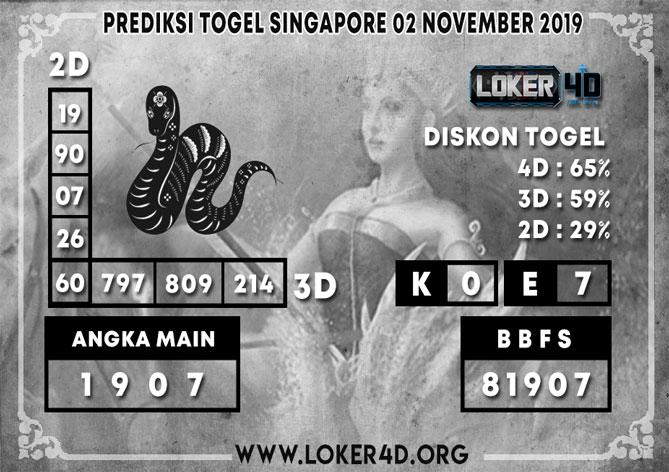 PREDIKSI TOGEL SINGAPORE LOKER4D 02 NOVEMBER 2019