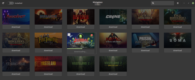 Minigalaxy (an unofficial GOG client for Linux) downloading available updates to a game.