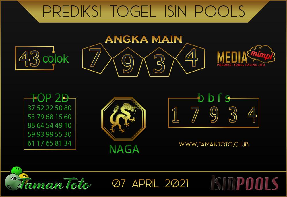 Prediksi Togel ISIN TAMAN TOTO 07 APRIL 2021