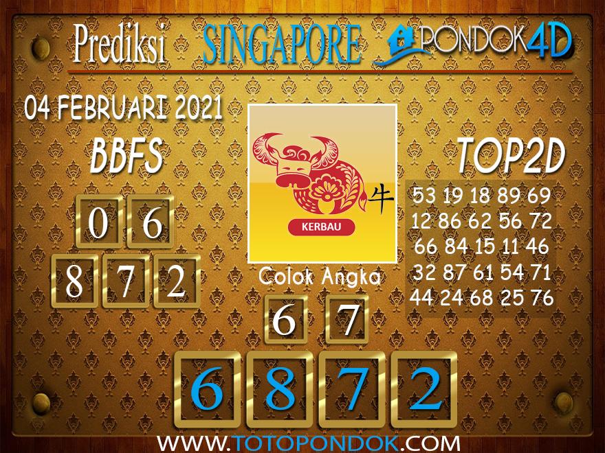 Prediksi Togel SINGAPORE PONDOK4D 04 FEBRUARI 2021