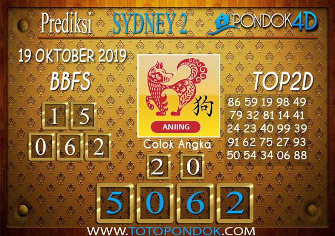 Prediksi Togel SYDNEY 2 PONDOK4D 19 OKTOBER 2019