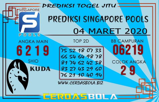 Prediksi Togel SINGAPORE CERDASBOLA 04 MARET 2020