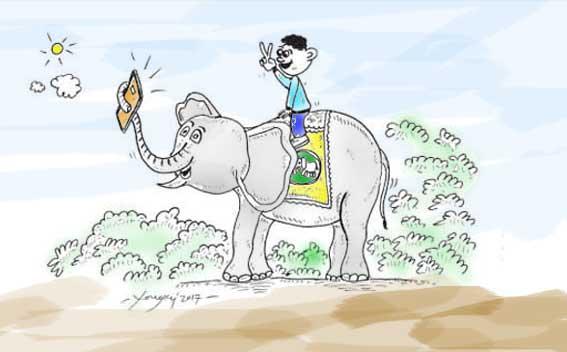 Gajah selfi dua jari