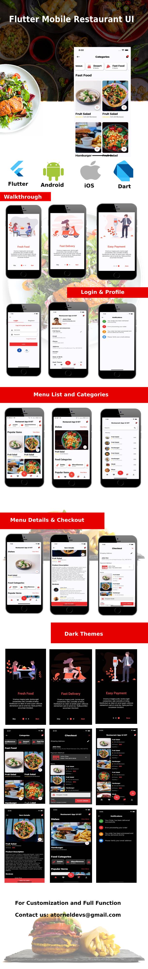Flutter Mobile Restaurant UI KIT - 2
