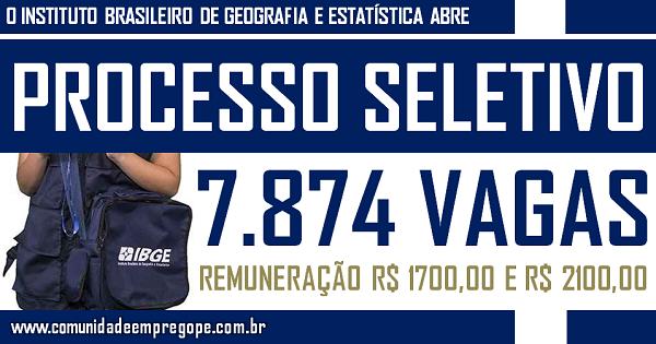 PROCESSO SELETIVO IBGE COM 208.695 VAGAS SENDO 7.874 PARA PERNAMBUCO