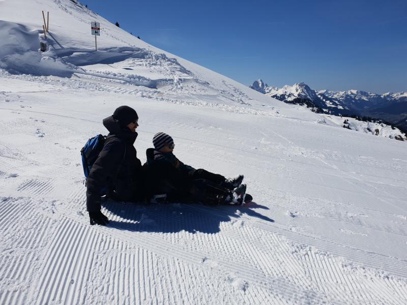 Snowboard as sledge